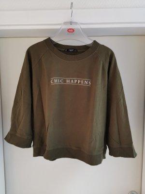 Kurz Sweatshirt mit weitem Halbarm und Slogan Gr. S