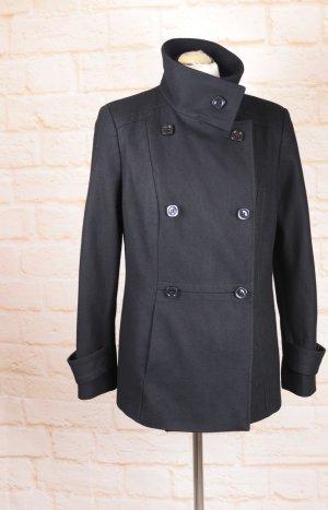 Kurz Wolljacke Doppelreiher Franka Luca Größe 38 40 M Schwarz Wolle Blazer Militär Übergangsjacke