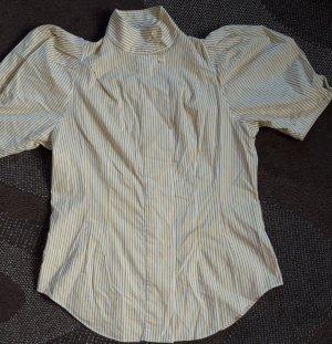Kurzärmelige Bluse mit Puffärmeln gelb gestreift Gr.40