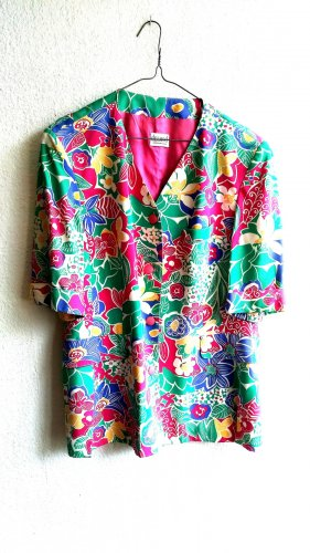 Kurzärmelige Jacke / Blazer mit buntem Blumenmuster
