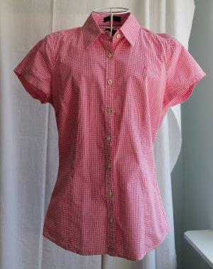 Kurzärmelige pink-weiß karierte Bluse von Gaastra