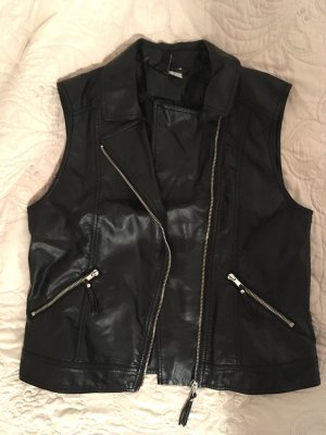 H&M Kurtka typu biker czarny-srebrny