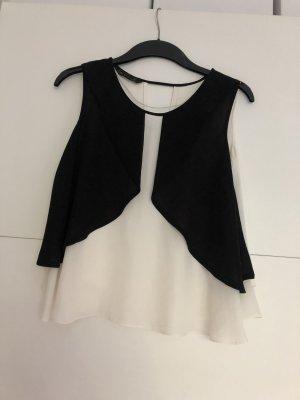 Kurzärmlige Bluse in Schwarz Weiß