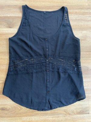 Kurzärmlige Bluse schwarz mit Spitze