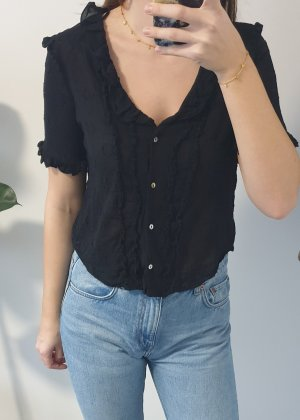 Kurzärmlige Zara Bluse Punkte Tupfen