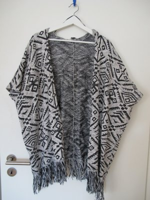C&A Clockhouse Knitted Cardigan black-natural white cotton