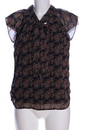 Kurzarm-Bluse schwarz-braun abstraktes Muster Casual-Look