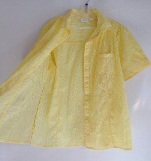 Kurzarm Bluse Ausbrenner Paola Größe 44 Gelb Muster Hemd Kasten Durchsichtig Transparent Sonnengelb Luftig