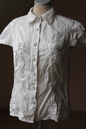 Kurzarm Bluse Next 100 % Baumwolle weiß figurbetonend sportiv Gr. 12