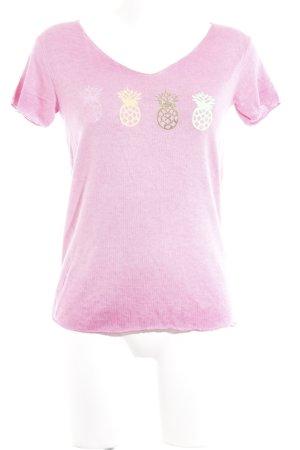 Kurzarm-Bluse pink grafisches Muster extravaganter Stil