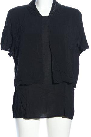 Isabell de Hillerin Kurzarm-Bluse schwarz Casual-Look