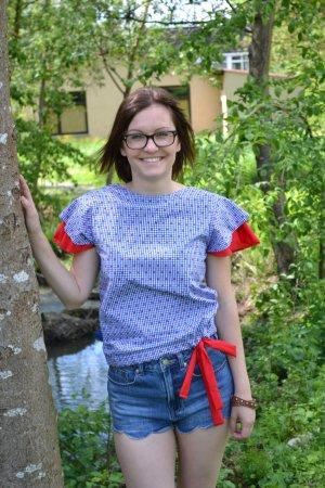 Kurzarm Bluse Tunika Shirt Baumwolle blau weiss rot handmade Volant