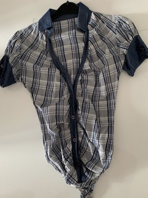 Chemise à manches courtes blanc-bleu foncé
