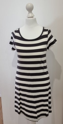 Kurzarm Kleid | Gekringelt | weißt-anthrazit Gestreift | Gr. XS