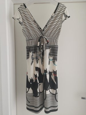 Kurzarm Kleid mit Katzen Motiv und Streifen in Gr. S von Super Stition