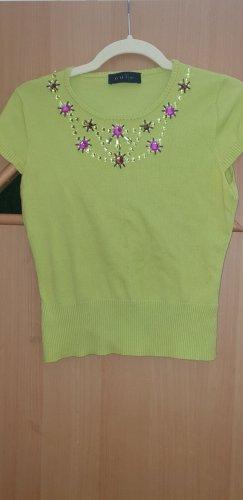 Oui Set Camisa acanalada verde claro-verde pálido Algodón