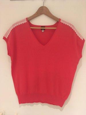 1.2.3 Paris Short Sleeve Sweater white-bright red cotton
