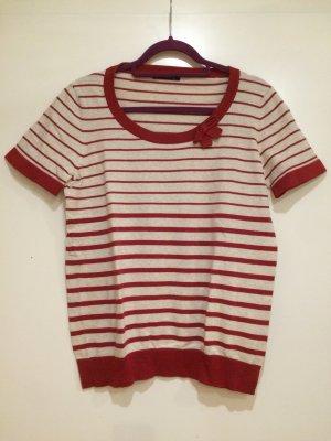 Kurzarm Pullover rot weiß, Gr. XL