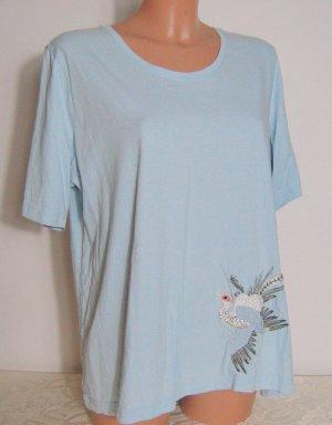 Kurzarm Shirt meine größe 46 Vogel Print Hellblau