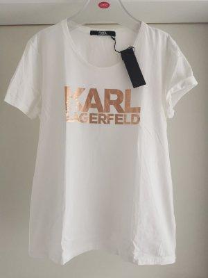 Kurzarm Shirt mit rosegoldenen Aufdruck Motiv Karl Lagerfeld Gr. XL