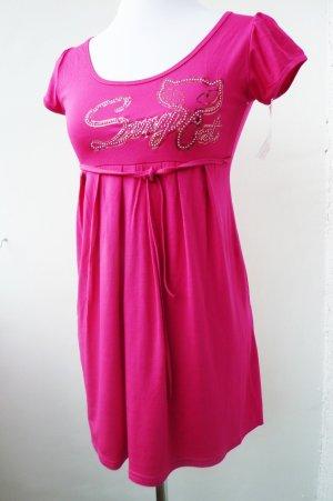 Kurzarm Shirt Tunika Sexy Cat Schmucksteine Glitter pink 38