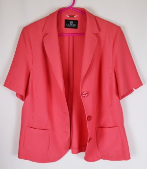 Kurzarm Sommerblazer Jacke Blazer Hemd Barbara Lebek Größe XL 44 Lachs Aprikot Rosa Pink Pikee Stoff Waffelstoff