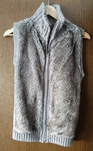 Yessica Short Sleeve Knitted Jacket grey brown