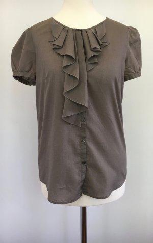 Kurzarmbluse aus leichtem Baumwollbatist mit Rüschendetails von Hugo