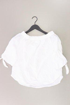 Kurzarmbluse Größe 34 mit Carmen-Ausschnitt weiß aus Baumwolle