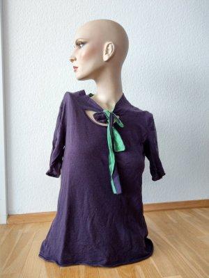 Emporio Armani Tie-neck Blouse dark violet-lime-green