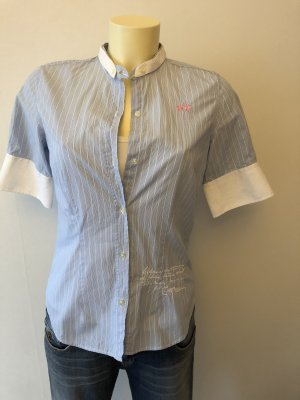 La Martina Short Sleeved Blouse white-cornflower blue