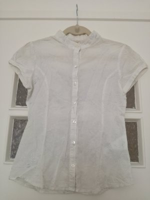 Cache & Cache Short Sleeved Blouse white-silver-colored cotton