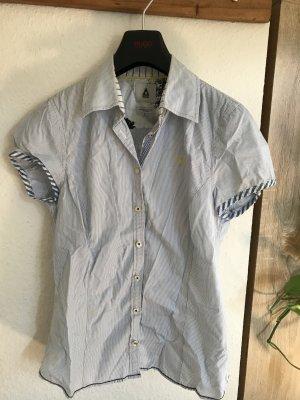 Gastra Chemise à manches courtes blanc-bleu azur coton