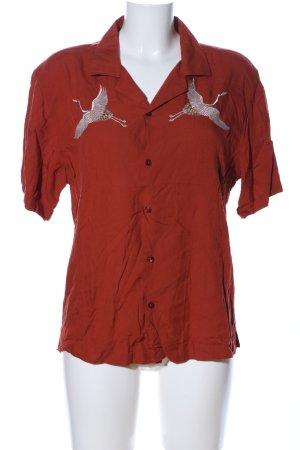 Camicia a maniche corte rosso Stampa a tema stile casual