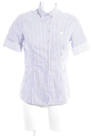 Kurzarmhemd kornblumenblau-weiß Streifenmuster Casual-Look