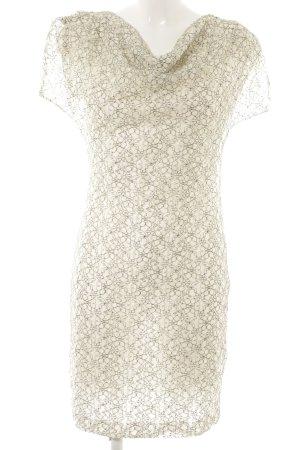 Kurzarmkleid schwarz-hellbeige florales Muster Romantik-Look