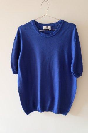 Kurzarmpullover aus Wolle königsblau