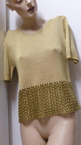 Ashley Brooke Pull à manches courtes brun sable-doré tissu mixte