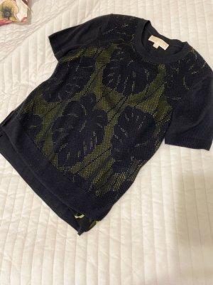 Michael Kors Short Sleeve Sweater black-lime yellow