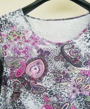 Kurzarmshirt mit pink Paisleymuster von Peter Hahn
