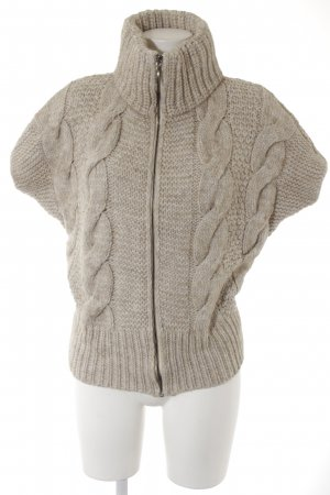 Short Sleeve Knitted Jacket cream-oatmeal weave pattern casual look