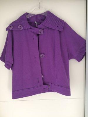 Public Cardigan à manches courtes violet-rouge mûre laine