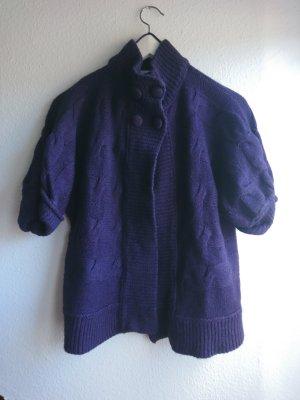 Yessica Short Sleeve Knitted Jacket dark violet