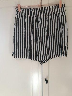 H&M Short taille haute noir-beige viscose