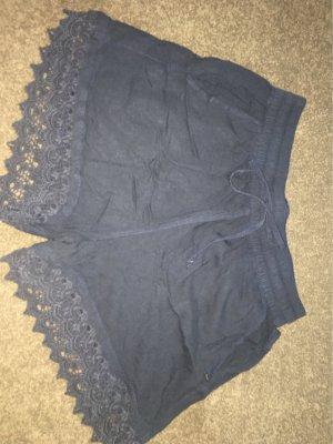 Kurze Blaue Stoffhose