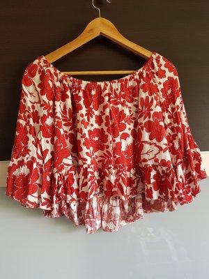 Kurze Bluse mit Blumenmuster von Topshop, Größe XS