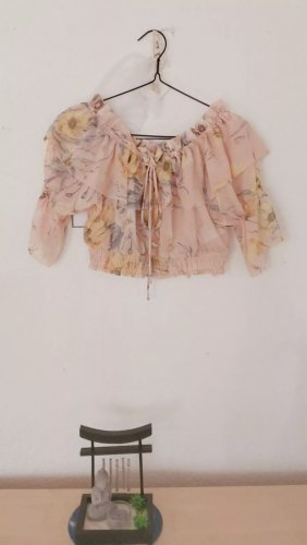 Kurze Bluse von H&M, Größe 36, rosa mit Blumen, bauchfrei,Neu