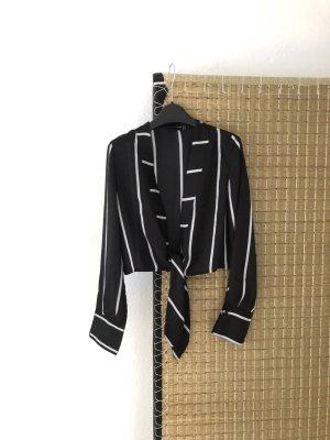 kurze Bluse zum binden schwarz-weiß gestreift