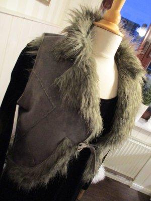 kurze Fake Fur / Kunst-Fell Weste Grau