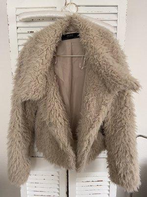 Zara Futrzana kurtka beżowy-w kolorze białej wełny